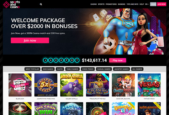 screenshot of sportsandcasino.com home page
